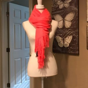 NWT, bright neon coral thick fuzzy winter scarf